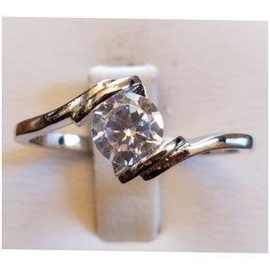 White Topaz Bypass Design Ring Size 9.5